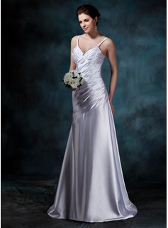 Sheath/Column V-neck Court Train Charmeuse Wedding Dress With Ruffle (002011641)