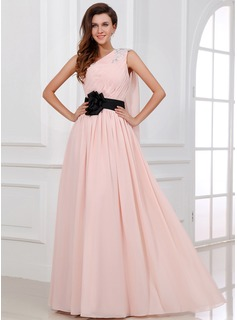A-Line/Princess One-Shoulder Floor-Length Chiffon Holiday Dress With Ruffle Sash Beading