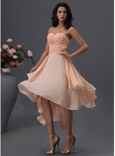 A-Line/Princess Sweetheart Asymmetrical Chiffon Bridesmaid Dress With Ruffle
