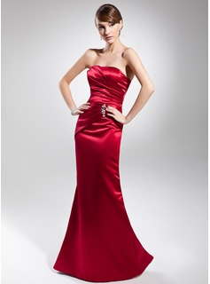 Mermaid Strapless Floor-Length Satin Evening Dress With Ruffle Beading
