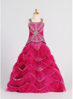 A-Line/Princess Sweetheart Floor-Length Satin Tulle Flower Girl Dress With Ruffle Beading Sequins