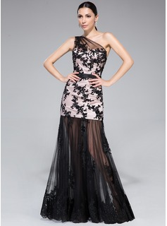 Trumpet/Mermaid One-Shoulder Floor-Length Tulle Charmeuse Prom Dress With Ruffle Appliques Lace Sequins