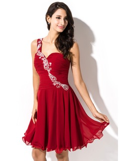 A-Line/Princess One-Shoulder Short/Mini Chiffon Homecoming Dress With Ruffle Beading Sequins