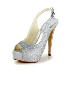 Women's Sparkling Glitter Stiletto Heel Pumps Sandals With Buckle (047040166)