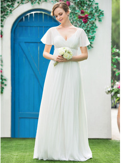Empire V-neck Floor-Length Chiffon Wedding Dress With Beading Pleated