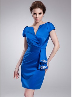 Sheath Off-the-Shoulder Knee-Length Satin Cocktail Dress With Ruffle Beading