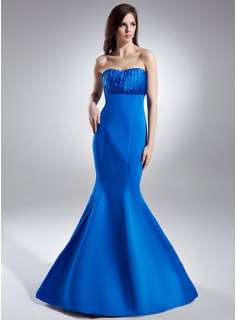 Mermaid Sweetheart Floor-Length Satin Evening Dress With Ruffle Beading