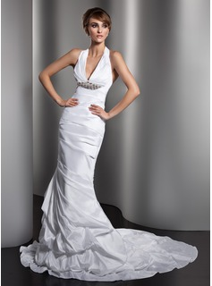 Mermaid Halter Court Train Taffeta Wedding Dress With Ruffle Crystal Brooch