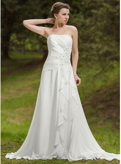 A-Line/Princess Sweetheart Chapel Train Chiffon Wedding Dress With Lace Beading Cascading Ruffles