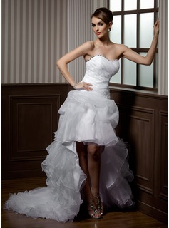 A-Line/Princess Sweetheart Asymmetrical Organza Wedding Dress With Lace Beading Cascading Ruffles