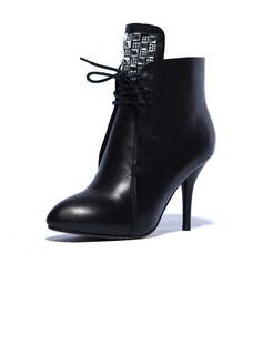 Real Leather Stiletto Heel Ankle Boots Riding Boots With Rhinestone shoes