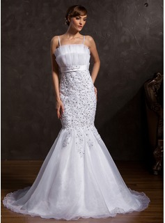 Mermaid Scalloped Neck Court Train Organza Satin Wedding Dress With Lace Sashes Sequins (002015171)