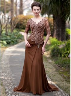 A-Line/Princess V-neck Sweep Train Chiffon Lace Mother of the Bride Dress With Ruffle Beading