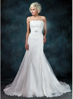 Mermaid Strapless Chapel Train Organza Satin Wedding Dress With Ruffle Lace Beadwork (002001236)