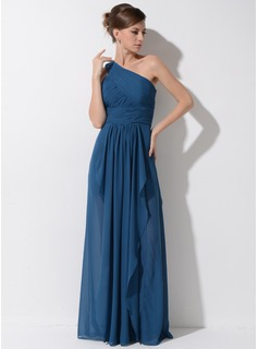 A-Line/Princess One-Shoulder Floor-Length Chiffon Evening Dress With Cascading Ruffles