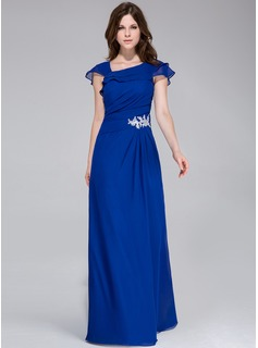 A-Line/Princess Floor-Length Chiffon Evening Dress With Appliques Cascading Ruffles