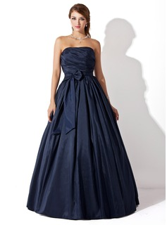 Ball-Gown Strapless Floor-Length Taffeta Prom Dress With Ruffle Bow