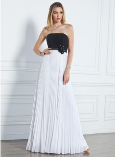 Empire Strapless Floor-Length Chiffon Prom Dress With Ruffle Beading Flower(s)