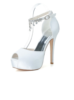 Women's Satin Stiletto Heel Peep Toe Platform Pumps Sandals With Buckle Imitation Pearl