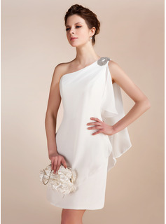 Sheath/Column One-Shoulder Short/Mini Chiffon Wedding Dress With Ruffle Beadwork