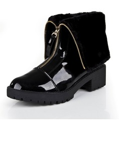 Patent Leather Chunky Heel Mid-Calf Boots shoes
