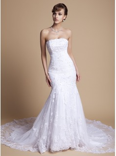 Mermaid Strapless Chapel Train Satin Lace Wedding Dress With Ruffle Beadwork (002000375)