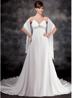 Empire V-neck Chapel Train Chiffon Wedding Dress With Ruffle Beadwork Sequins