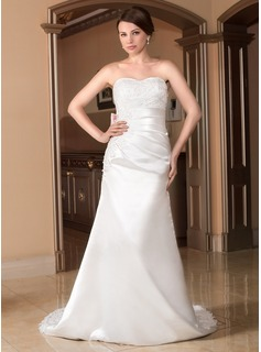 Sheath/Column Sweetheart Court Train Tulle Charmeuse Wedding Dress With Ruffle Lace Sashes Beadwork