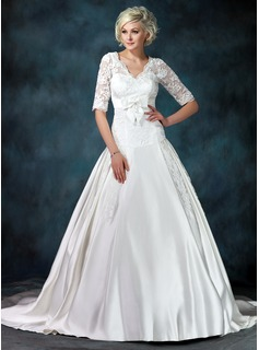 Ball-Gown V-neck Chapel Train Satin Tulle Wedding Dress With Ruffle Lace