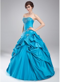 Ball-Gown Sweetheart Floor-Length Taffeta Tulle Quinceanera Dress With Embroidered Ruffle Beading