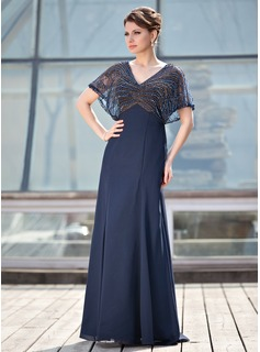 A-Line/Princess V-neck Floor-Length Chiffon Tulle Mother of the Bride Dress With Beading