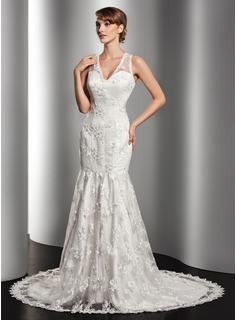 Trumpet/Mermaid V-neck Court Train Satin Lace Wedding Dress With Beading