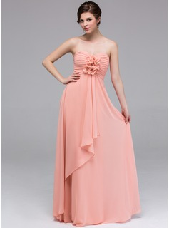 A-Line/Princess Sweetheart Floor-Length Chiffon Bridesmaid Dress With Ruffle Flower(s)