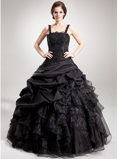Ball-Gown Square Neckline Floor-Length Taffeta Organza Quinceanera Dress With Lace Beading Sequins Cascading Ruffles