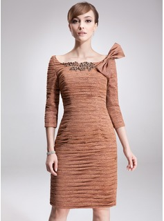 Sheath/Column Off-the-Shoulder Knee-Length Charmeuse Lace Mother of the Bride Dress With Ruffle Beading Sequins Bow(s)