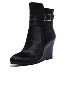 Real Leather Wedge Heel Wedges Ankle Boots With Buckle shoes