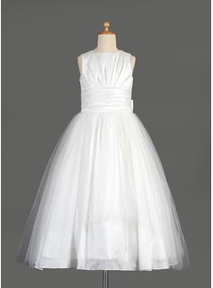 Empire Scoop Neck Tea-Length Taffeta Tulle Flower Girl Dress With Ruffle Bow(s)