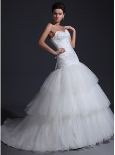 Mermaid Sweetheart Cathedral Train Satin Tulle Wedding Dress With Ruffle Lace Beadwork