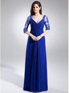 A-Line/Princess V-neck Floor-Length Chiffon Tulle Mother of the Bride Dress With Ruffle Lace Beading