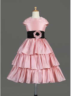 A-Line/Princess Scoop Neck Tea-Length Taffeta Flower Girl Dress With Sash Flower(s) Bow(s) Cascading Ruffles