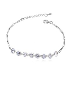 Classic Zircon/Platinum Plated Ladies' Bracelets