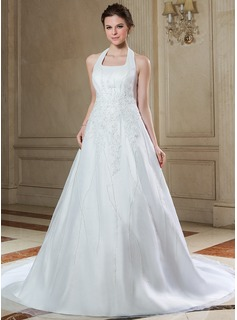 A-Line/Princess Halter Chapel Train Organza Satin Wedding Dress With Lace Beading Sequins