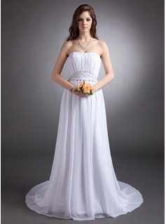 A-Line/Princess Strapless Court Train Chiffon Wedding Dress With Ruffle Beadwork