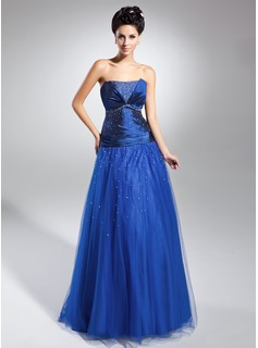 A-Line/Princess Scalloped Neck Floor-Length Taffeta Tulle Mother of the Bride Dress With Ruffle Beading