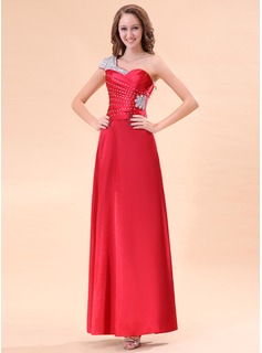 A-Line/Princess One-Shoulder Floor-Length Satin Evening Dress With Ruffle Beading