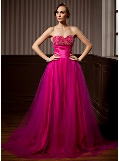 A-Line/Princess Sweetheart Court Train Taffeta Tulle Quinceanera Dress With Ruffle Beading
