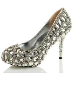 Women's Satin Cone Heel Closed Toe Pumps With Rhinestone Crystal Heel (047031206)