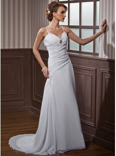 A-Line/Princess Sweetheart Court Train Chiffon Wedding Dress With Ruffle Lace Beadwork Crystal Brooch (002011468)