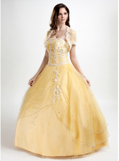 Ball-Gown Strapless Floor-Length Taffeta Tulle Quinceanera Dress With Lace Beading