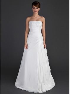 A-Line/Princess Strapless Floor-Length Chiffon Taffeta Wedding Dress With Ruffle Beading